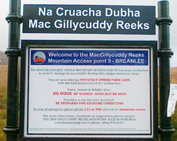 Signage on Macgillycuddy Reeks